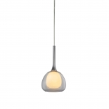 P314, 1lt 60w E14, clear outer with frost inner glass, chrome metal ware, 160mm wide, 280mm high, 1.2mtr suspension cable