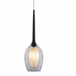 P315, 1lt 40w G9, clear outer with white inner glass, black metal ware, 120mm wide, 380mm high, 1.2mtr suspension cable