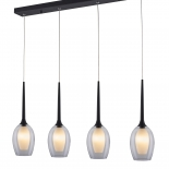 P315, 4lt 40w G9, clear outer with white inner glass, black metal ware, 670mm long black bar, 1.2mtr suspension cable