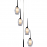 P315, 5lt 40w G9, clear outer with white inner glass, black metal ware, 310mm round plate, 1.2mtr suspension cable