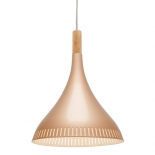 P149, 60w E27, champagne gold with baltic coloured wood, 435mm high, 300mm wide, 1.6m cord