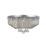 P145 5lt, 28w G9, chrome metalware, clear crystal drops, 175mm high, 350mm wide, also available in 9lt, 290mm high x 530mm wide