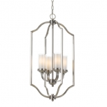 P231, 4 x 25w E14, nickel matt metalware & opal glass, 370mm wide, 710mm high, also available in black