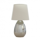 TL136, 1 x 40w E14, on/off touch lamp, white shade, chrome coloured base, 32cm high