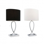 TL49, 60w B22, on-off touch lamp, white or black shade with chrome base, available in 2 sizes small- 43cm high, large- 50cm high
