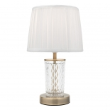TL71, 25w B22, clear cut glass base with antique brass metalware, faux silk pleated shade, 34cm high