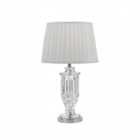 TL15, 40w E27, chrome and clear base with white pleated shade, 540mm high