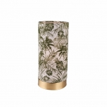TL162, 1 x 25w E27, tropical patterned shade, brushed brass metal ware, 23cm high, 12cm wide