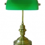 TL73, 60w B22, Antique Brass metalware with green glass shade, 38cm high, 21cm wide