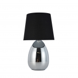 TL136, 1 x 40w E14, on/off touch lamp, bvlack shade, chrome coloured base, 32cm high