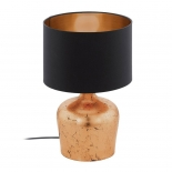 TL138, 1 x 60w E27, copper coloured base, black fabric shade, copper shade inner, 470mm high