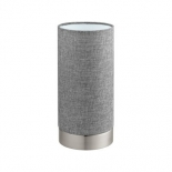 TL124, touch lamp, 40w E27, satin nickel base, grey fabric shade, 255mm high, 120mm wide