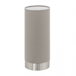 TL124, touch lamp, 40w E27, satin nickel base, taupe fabric shade, 255mm high, 120mm round