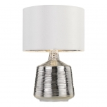 TL176, 1 x 25w E27, chrome coloured base, white shade with silver inside, 510mm high, shade 340mm wide