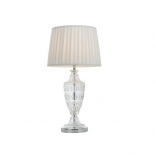 TL24, 40w E27, chrome and clear base, white pleated shade, 650mm high