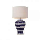 TL169, 1 x 25w E27, White & Blue patterned base, white shade, 500mm high, 320mm wide