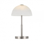TL171, 7w LED, 3 stage touch lamp, satin nickle metalware, marble glass shade 400mm high, 250mm wide
