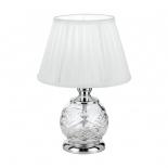 TL32, 40w E14, chrome & clear glass base, white shade, 330mm high, 220mm wide