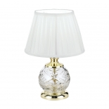 TL32, 40w E14, gold & clear glass base, white shade, 330mm high, 220mm wide