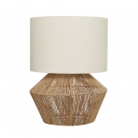 TL158, 1 x 60w E27, natural thread base with off white shade, 400mm high