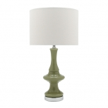 TL13, 60w E27, green and chrome base, off white shade, 600mm high, 330mm wide
