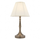 TL50, touch lamp-ab 40w E14, antique brass metalware with soft cream pleated shade,