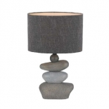 TL59, 40w E27, stone base with grey linen shade, 520mm high, 330mm wide.