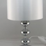Tl51, 60w B22, 3 stage touch lamp, polished chrome metalware with a white shade, 43cm high