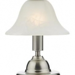 TL143, 40w B22, 3 stage touch lamp, brushed chrome metalware, alabaster glass shade, 30cm high
