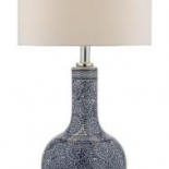 TL141, 1 x 60w B22, blue patterned base, white linen shade, 440mm high, 230mm wide