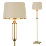 FL57, 1 x 60w E27, antique brass metal ware, amber glass, cream shade, gold inside, 1600mm high