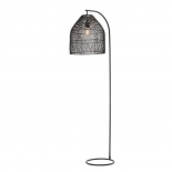 FL59, 1 x 40w E27, black metal ware, black rattan shade, 176cm high