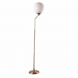 FL48, 1 x 25w E27, aged brass metal ware, white frosted glass shade, 155cm high