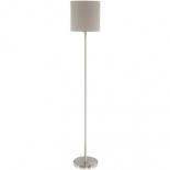 FL38, 1 x 40w E27, satin nickel metalware with a taupe fabric shade, 1575mm high