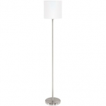 FL38, 1 x 40w E27, satin nickel metalware with a white fabric shade, 1575mm high