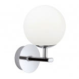 VL20, Vanity Light, IP44, 1 x 3w G9 LED, Chrome Metal Ware, Opal Glass, 205mm high, 120mm wide, 155mm projection