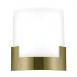 WB32, 12w LED, tri colour 3000k, 4000k & 5000k, 960 lumens, dimmable, antique brass/frost glass, 200mm x 200mm