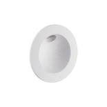 EX38, 2w LED step light, 95 lumens - 3000k, textured white or black, 85mm diameter, 75mm cutout with wallbox, 120 degree beam angle, dimmable, series wired,2 year warranty