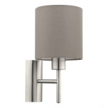 WB28, 1 x 60w E27, satin nickel metalware, taupe coloured fabric shade, 305mm high