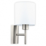 WB28, 1 x 60w E27, satin nickel metalware, white coloured fabric shade, 305mm high