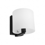 WB21, 1 x 40w E14, switch on fitting, frost glass, matt black metalware, 150mm high, 148mm wide, 173mm projection