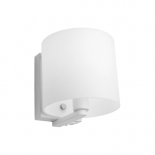 WB21, 1 x 40w E14, switch on fitting, frost glass, white metalware, 150mm high, 148mm wide, 173mm projection